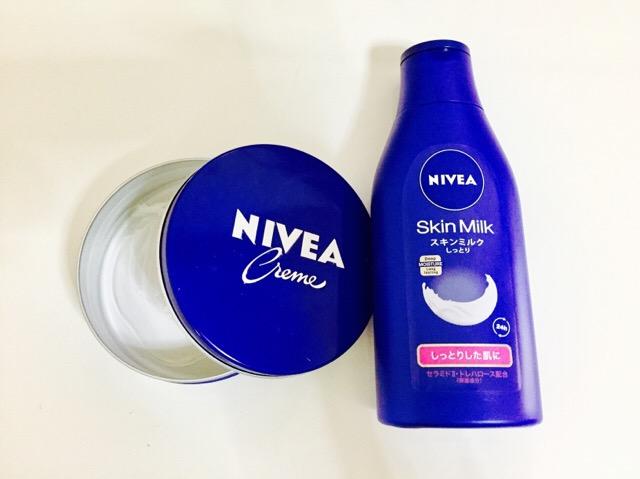 妊娠線予防にニベア青缶とスキンミルク使用中
