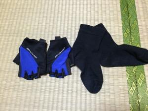 女ロードバイク手袋と靴下